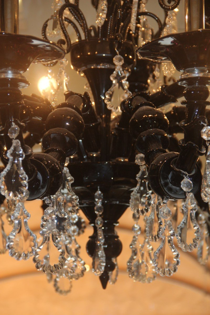 Large model taif chandelier in black murano glass and amethyst from large model taif chandelier in black murano glass and amethyst from barovier toso 2005 mozeypictures Gallery