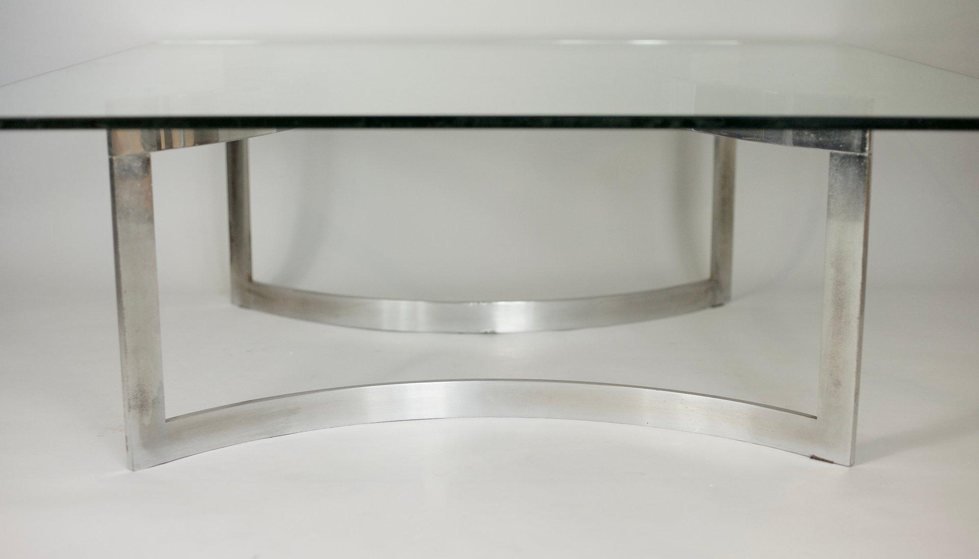 couchtisch aus verchromtem stahl dickem glas von dassas 1963 bei pamono kaufen. Black Bedroom Furniture Sets. Home Design Ideas