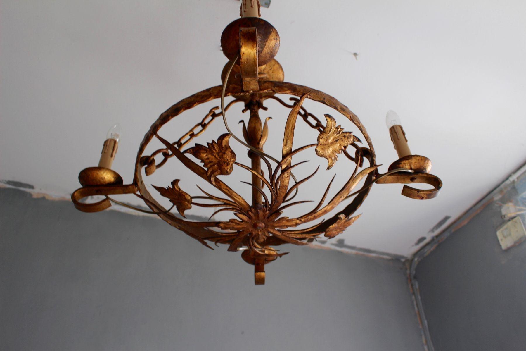 Art Nouveau Gilt Iron Tole Round Chandelier 1870s for sale at Pamono