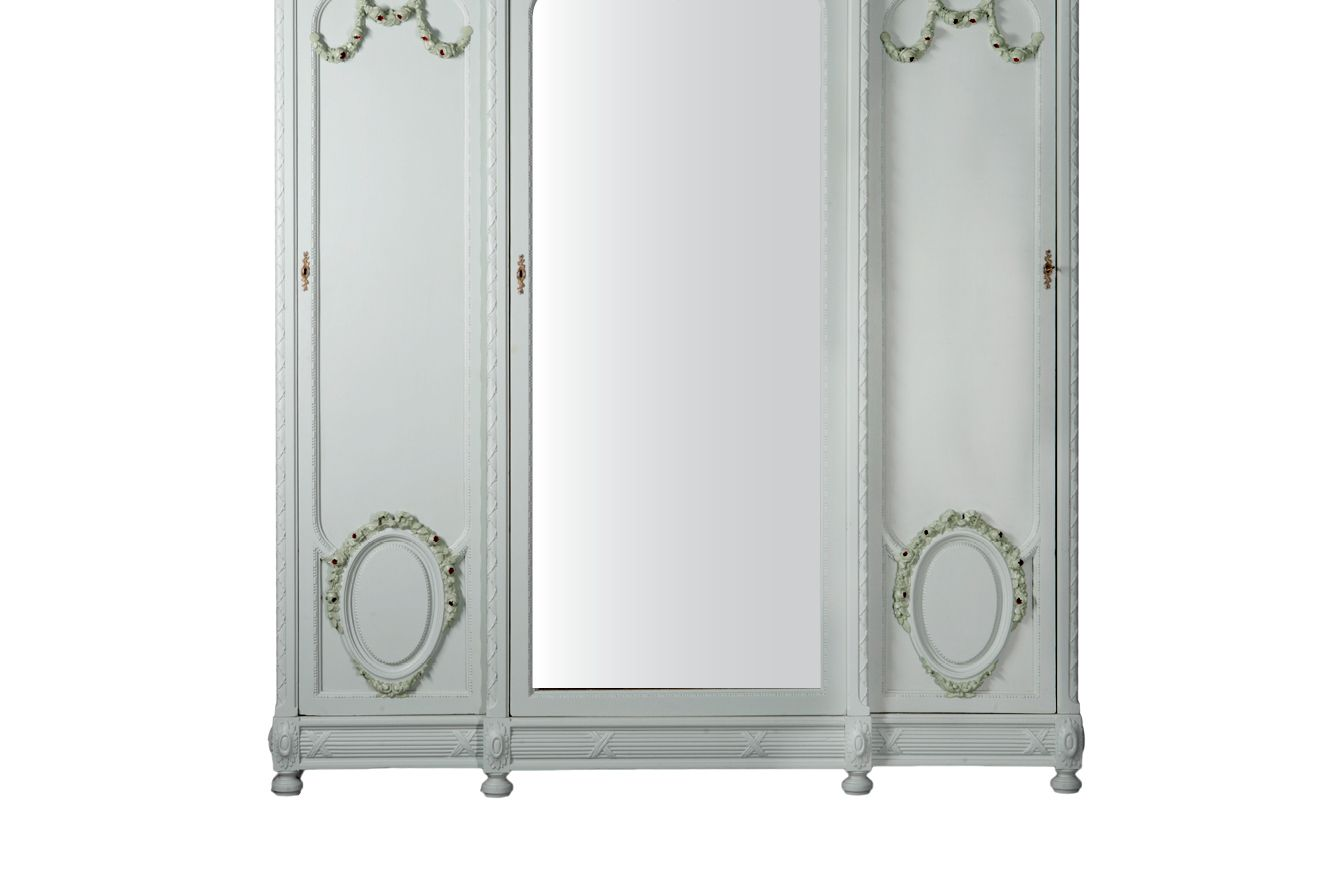 Antique French Three Door Painted Armoire