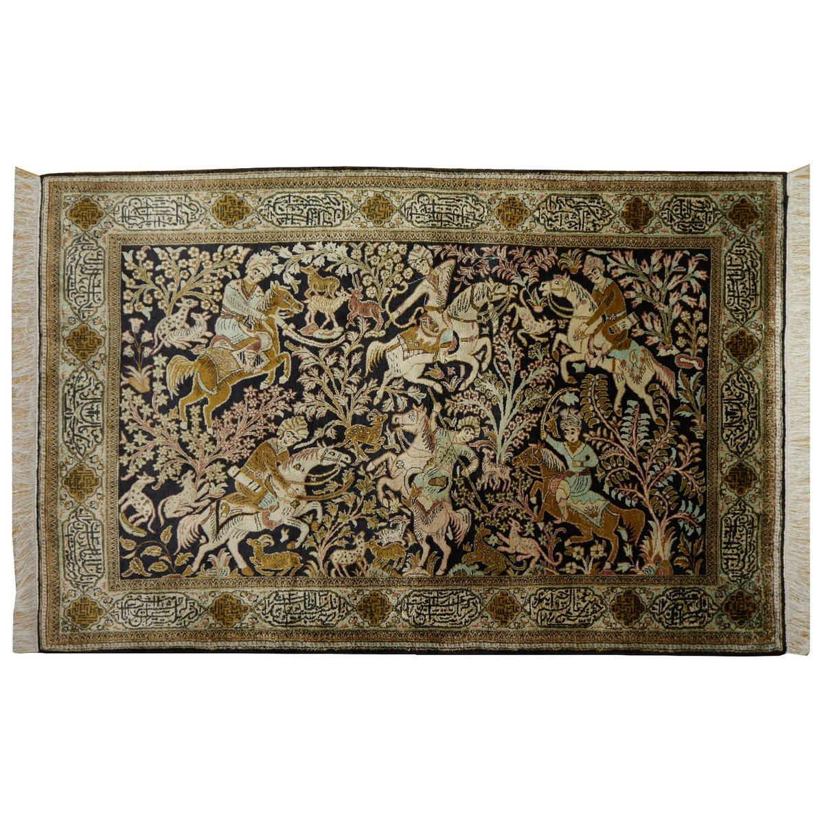 Persian Silk Hunting Rug, 1950s For Sale At Pamono