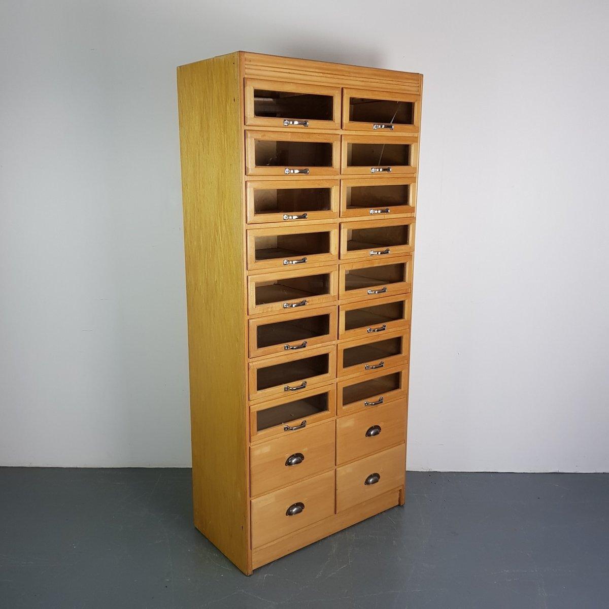 industrieller vintage kurzwaren schrank mit 20 schubladen bei pamono kaufen. Black Bedroom Furniture Sets. Home Design Ideas