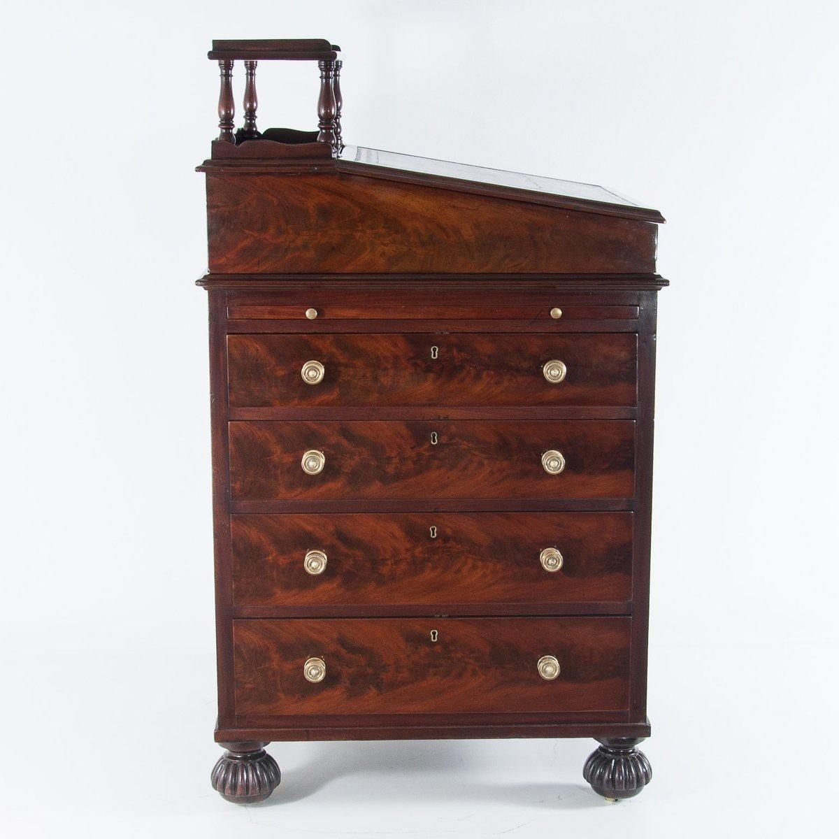 Antique English Late Regency Period Davenport Mahogany Desk - Antique English Late Regency Period Davenport Mahogany Desk For Sale