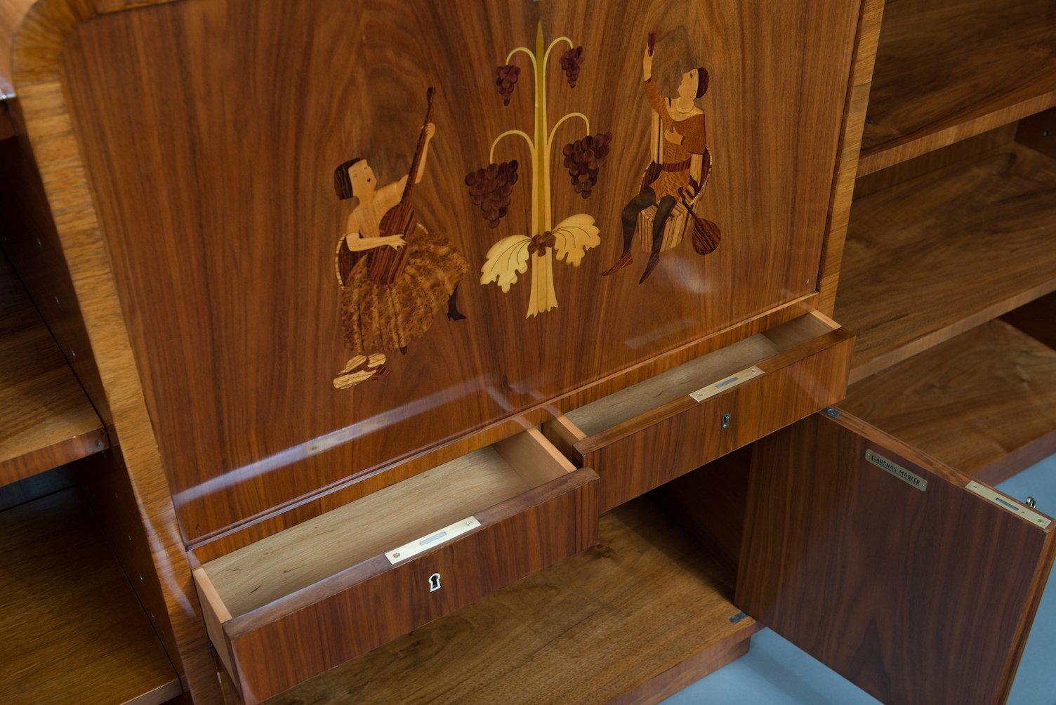 vintage b cherregal mit bar von garsnas mobler bei pamono. Black Bedroom Furniture Sets. Home Design Ideas