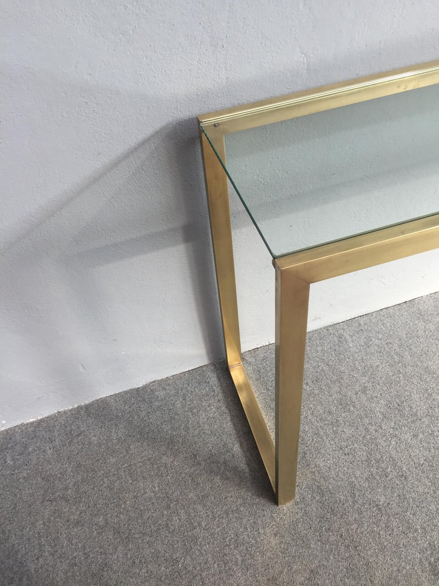 Brass and Glass Console Table 1970s for sale at Pamono