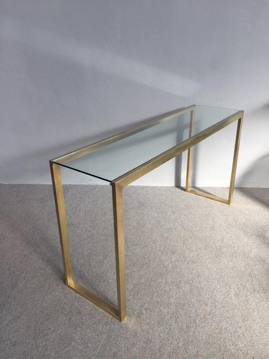 konsolentisch aus messing glas 1970er bei pamono kaufen. Black Bedroom Furniture Sets. Home Design Ideas