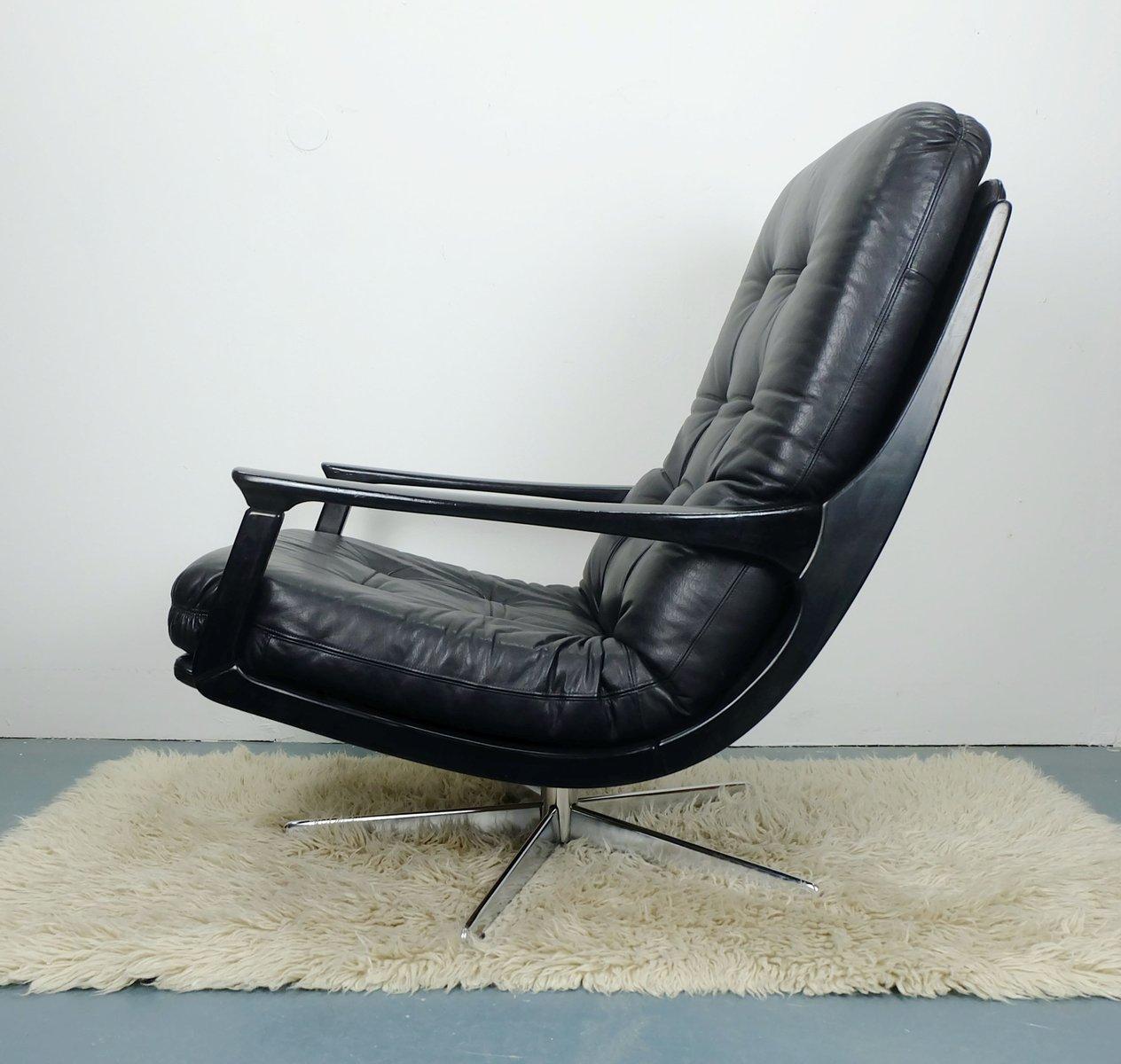 schwarzer leder b rostuhl 1960er bei pamono kaufen. Black Bedroom Furniture Sets. Home Design Ideas
