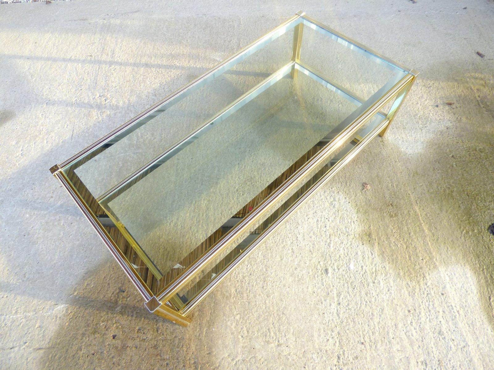 table basse vintage en m tal dor france en vente sur pamono. Black Bedroom Furniture Sets. Home Design Ideas