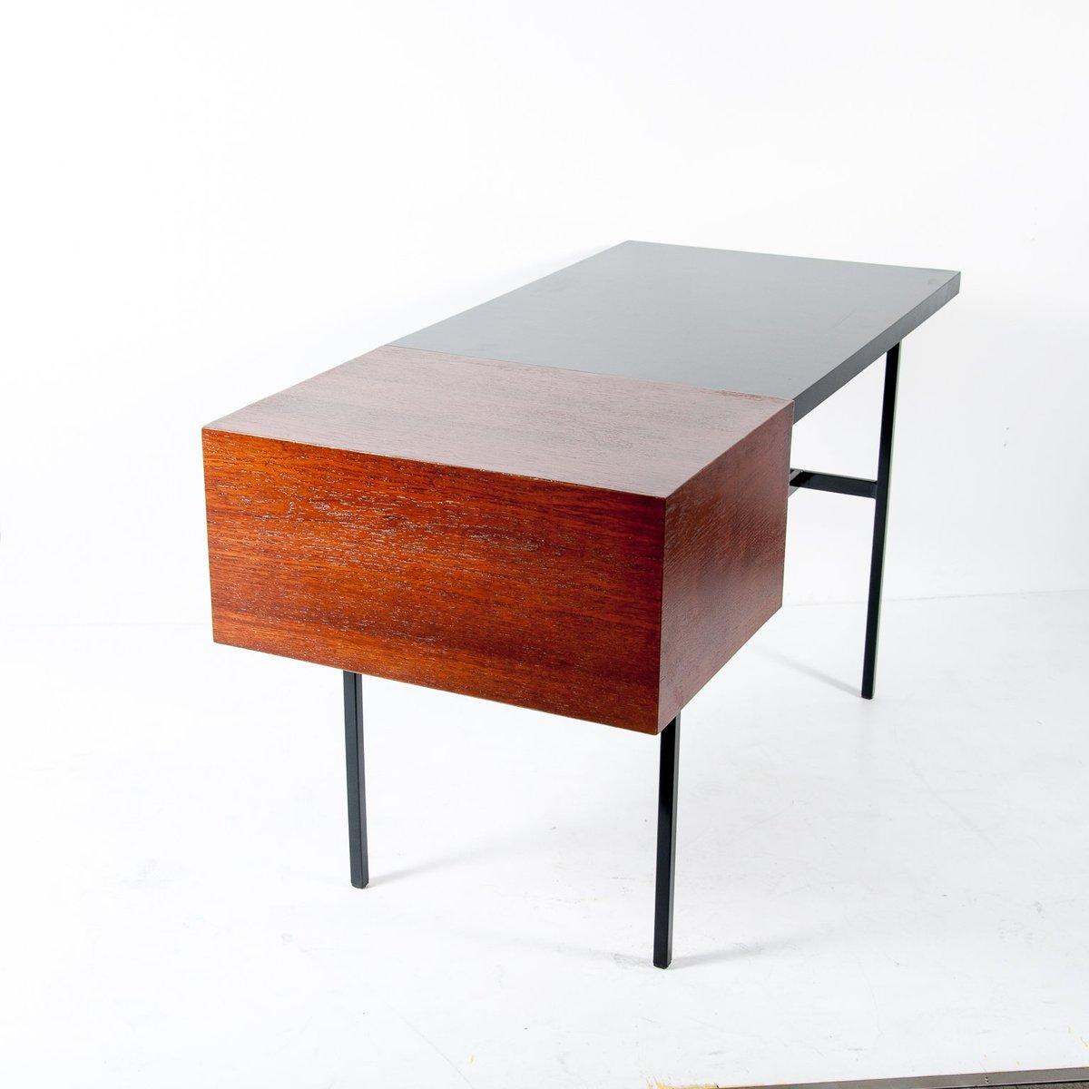 mid century walnuss schreibtisch mit schwarzer lackierter. Black Bedroom Furniture Sets. Home Design Ideas