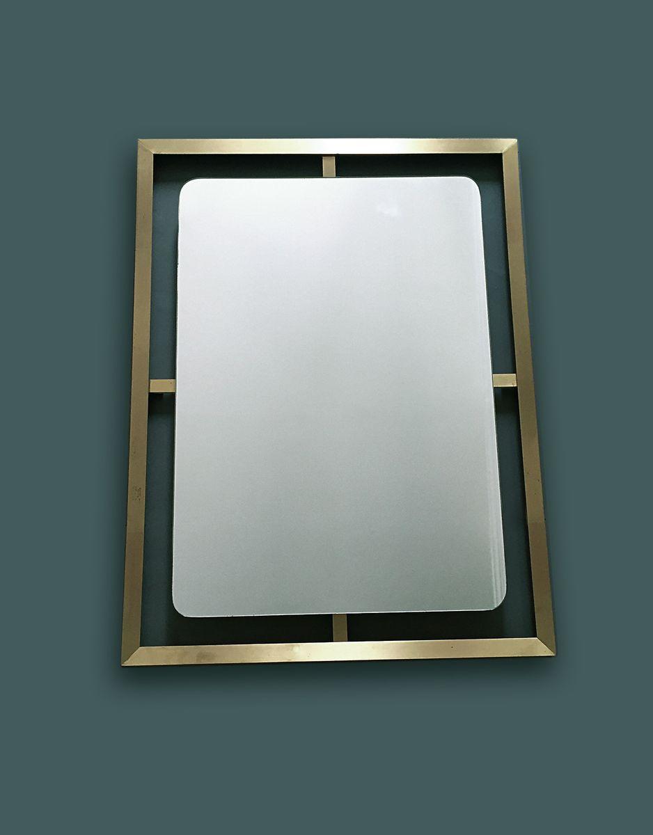 moderner messing spiegel 1970er bei pamono kaufen. Black Bedroom Furniture Sets. Home Design Ideas