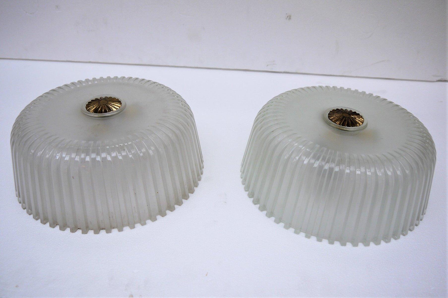 Plafoniere Da Soffitto Vintage : Lampade da soffitto vintage in vetro italia set di 2 vendita su