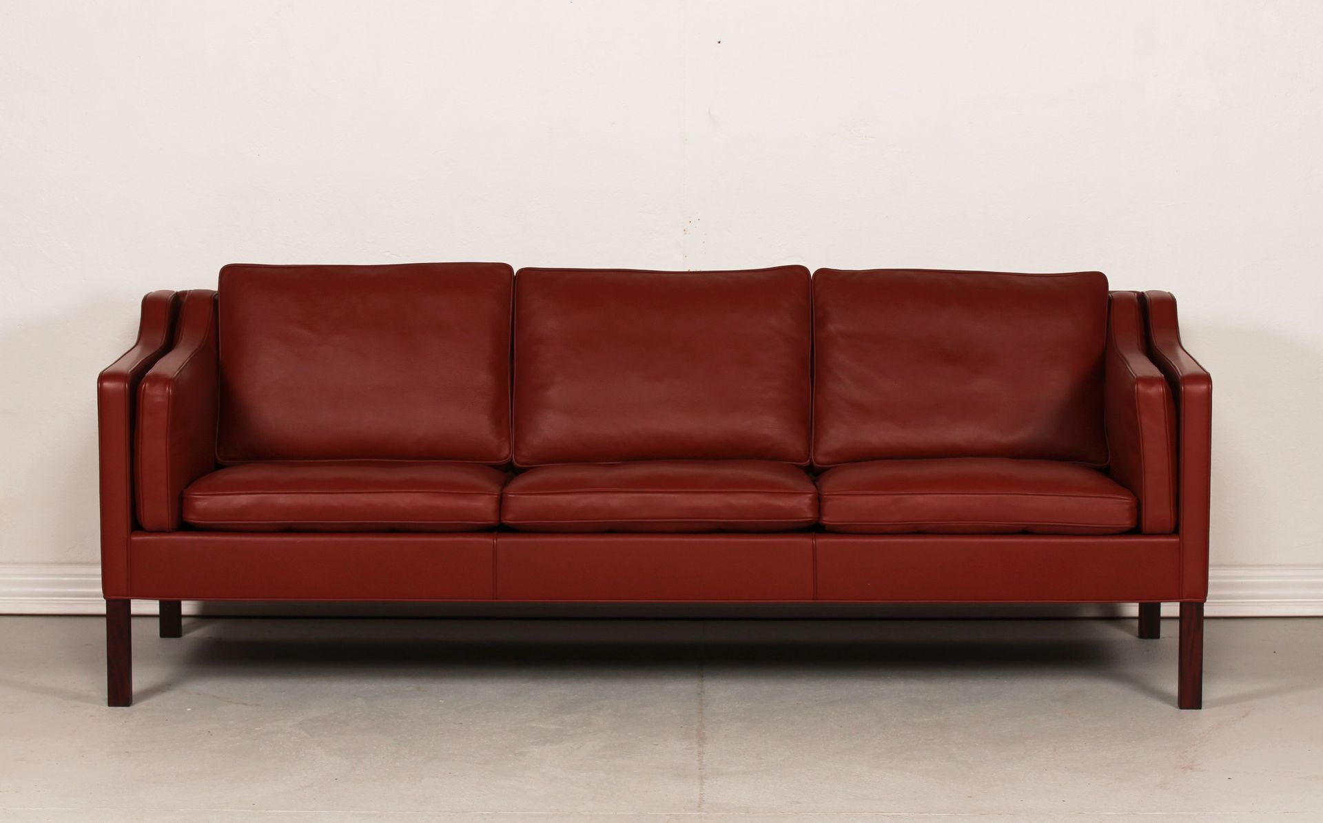 2213 Red Leather Sofa By Børge Mogensen For Fredericia, 1960s