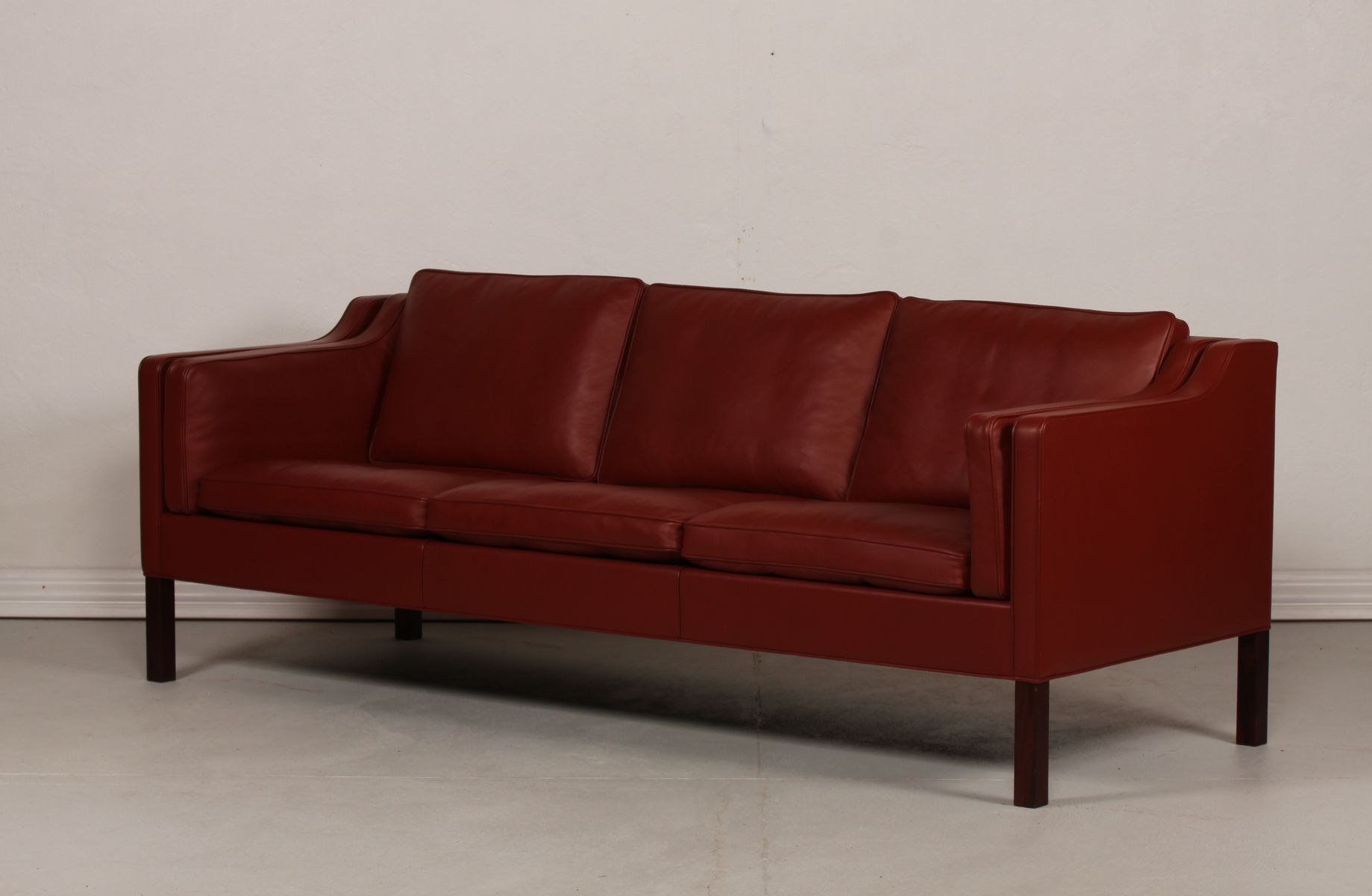 2213 red leather sofa by borge mogensen for fredericia for Red leather sectional sofa for sale