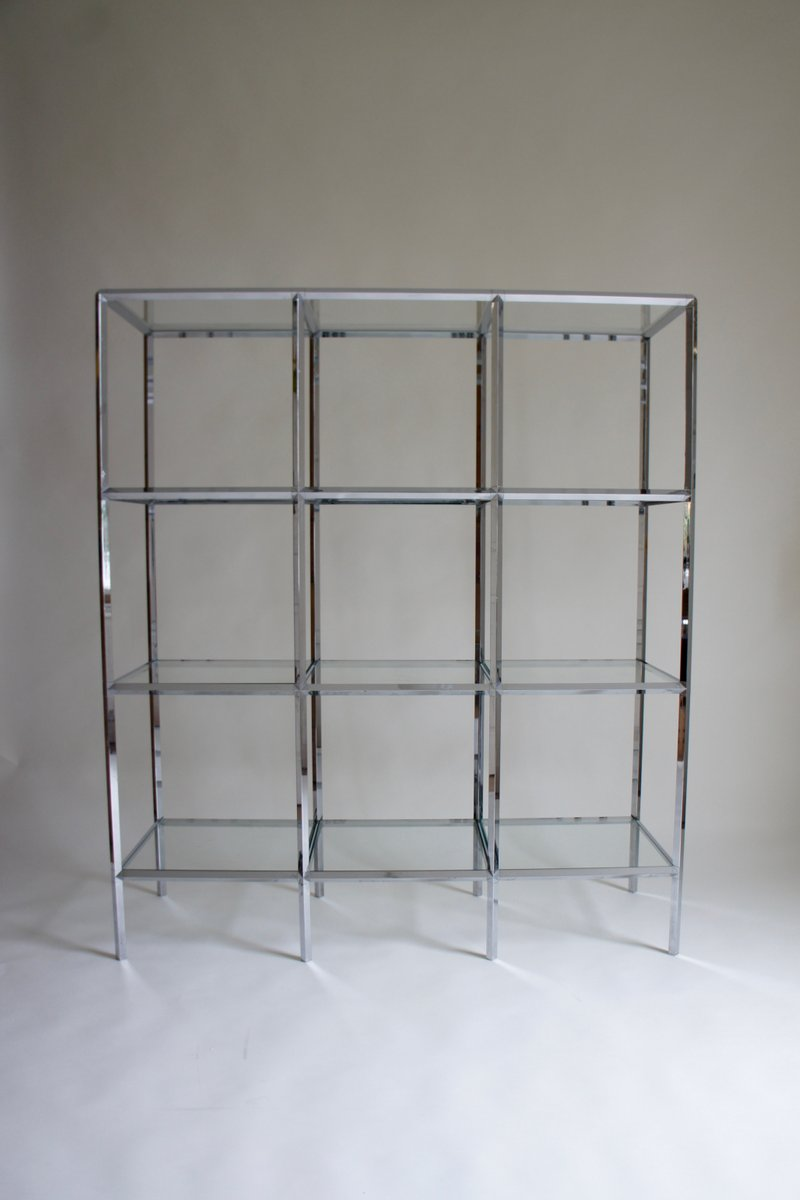 Chrome & Glass Shelving Unit, 1970s for sale at Pamono