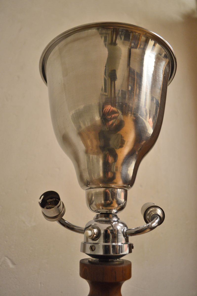 lampe de bureau art d co en bois chrome et aluminium 1930s en vente sur pamono. Black Bedroom Furniture Sets. Home Design Ideas