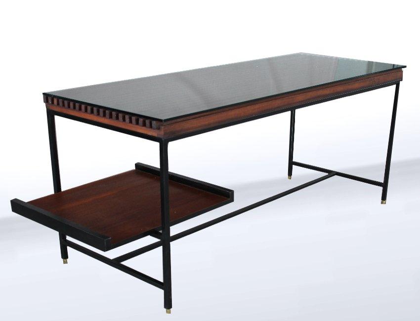 italienischer mid century schreibtisch aus metall holz. Black Bedroom Furniture Sets. Home Design Ideas