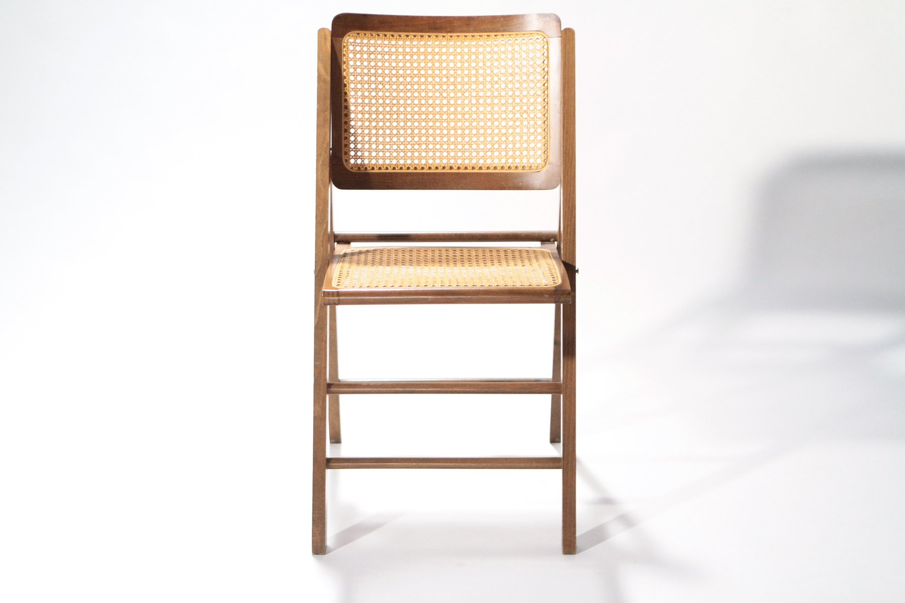 Mid Century French Cane Folding Chairs 1950s Set of 2 for sale