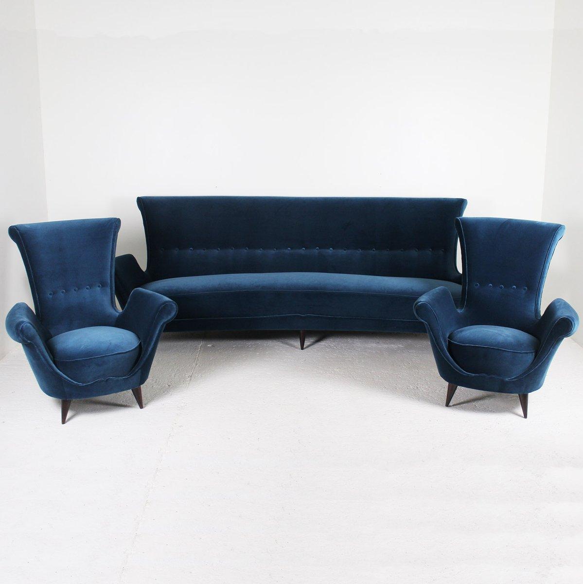 canap en velours bleu 1950s en vente sur pamono. Black Bedroom Furniture Sets. Home Design Ideas