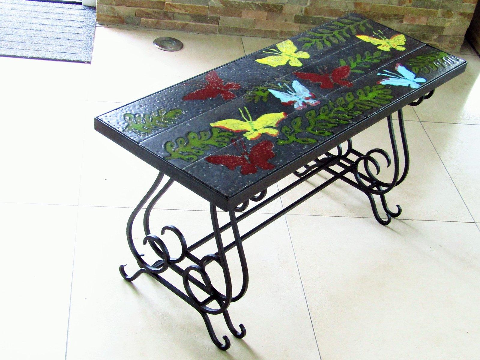 couchtisch mit fliesen von vallauris aus lavagestein 1940er bei pamono kaufen. Black Bedroom Furniture Sets. Home Design Ideas