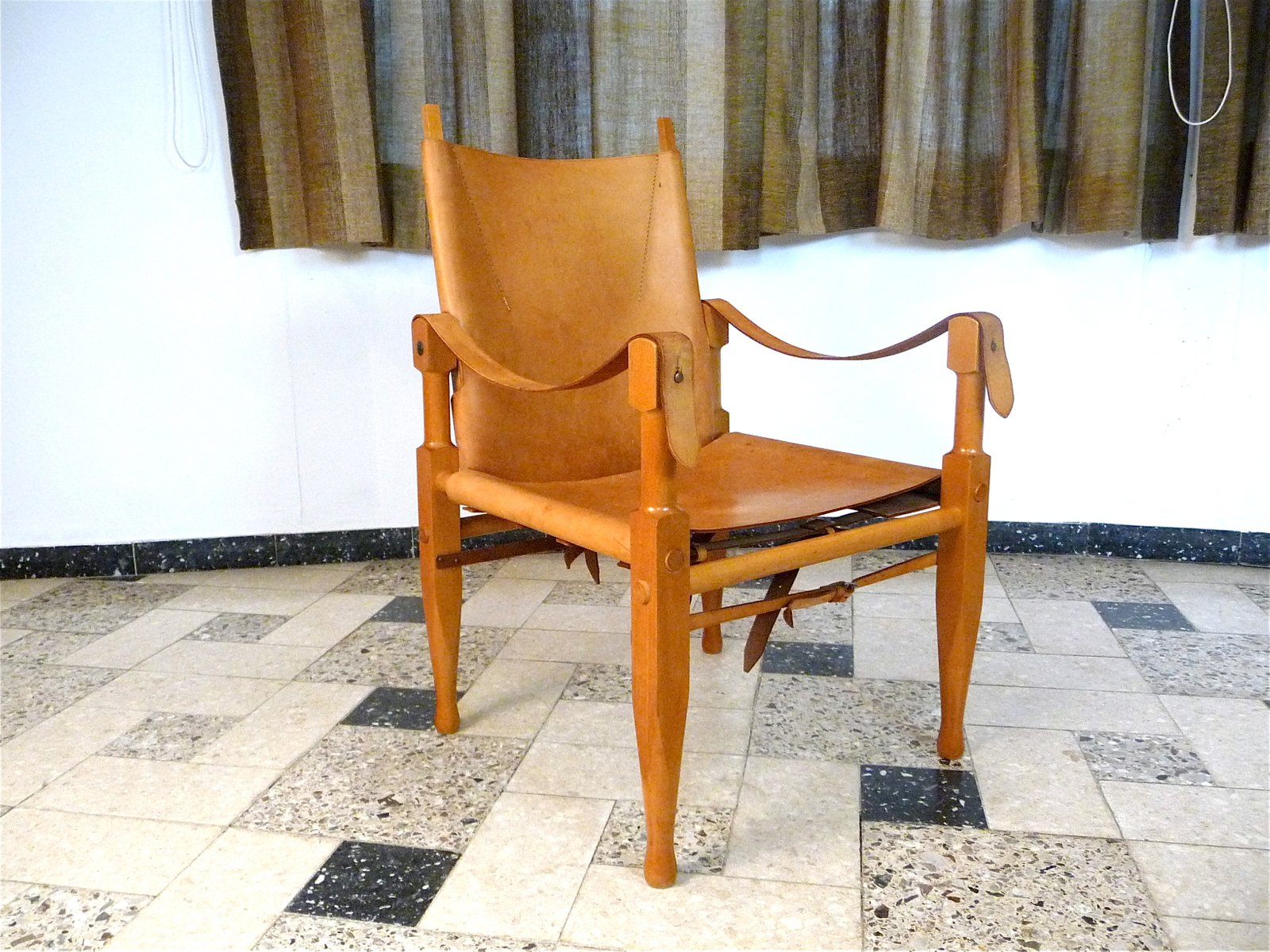 Swiss Leather Safari Chair By Wilhelm Kienzle For Wohnbedarf, 1960s