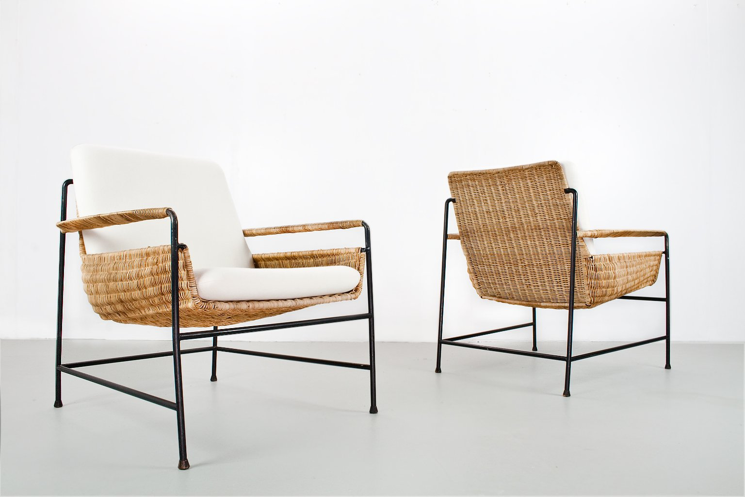 rattan lounge chairs by herta maria witzemann for wilde spieth 1950s set of 2 for sale at pamono. Black Bedroom Furniture Sets. Home Design Ideas