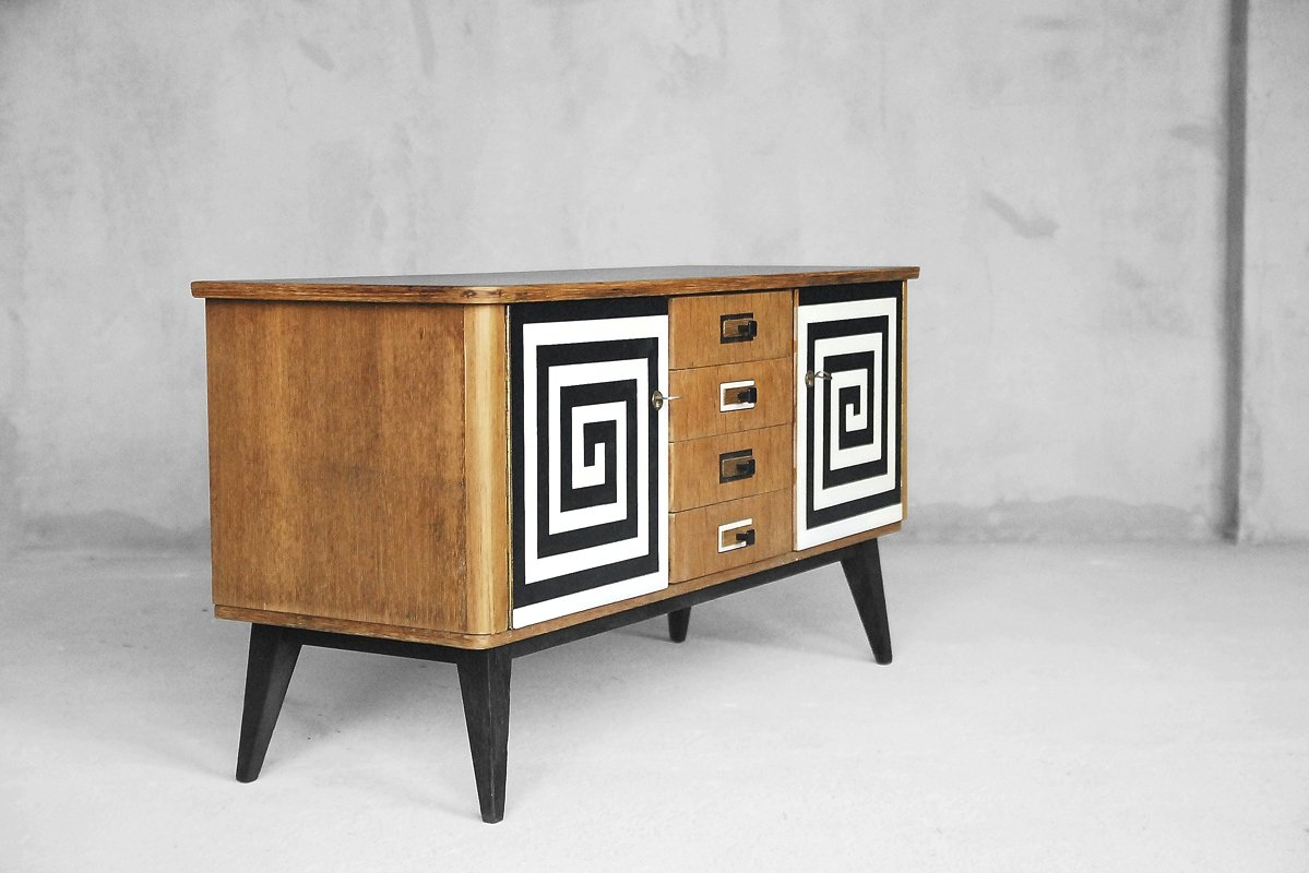 mid century sideboard with hand painted pattern 1960s for sale at pamono. Black Bedroom Furniture Sets. Home Design Ideas