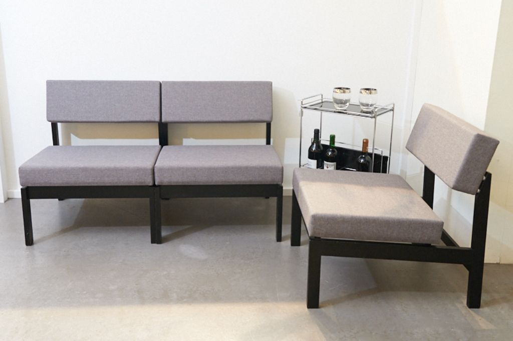 hellgraues vintage 3 sitzer sofa oder sesselgruppe von willy guhl f r dietiker co bei pamono. Black Bedroom Furniture Sets. Home Design Ideas