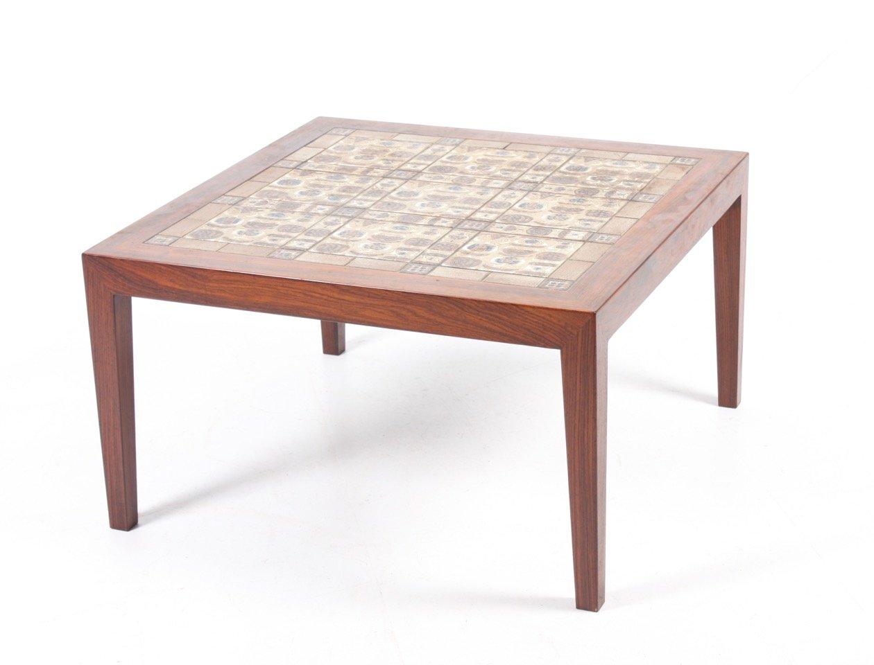 palisander tisch mit fliesen von severin hansen f r haslev. Black Bedroom Furniture Sets. Home Design Ideas
