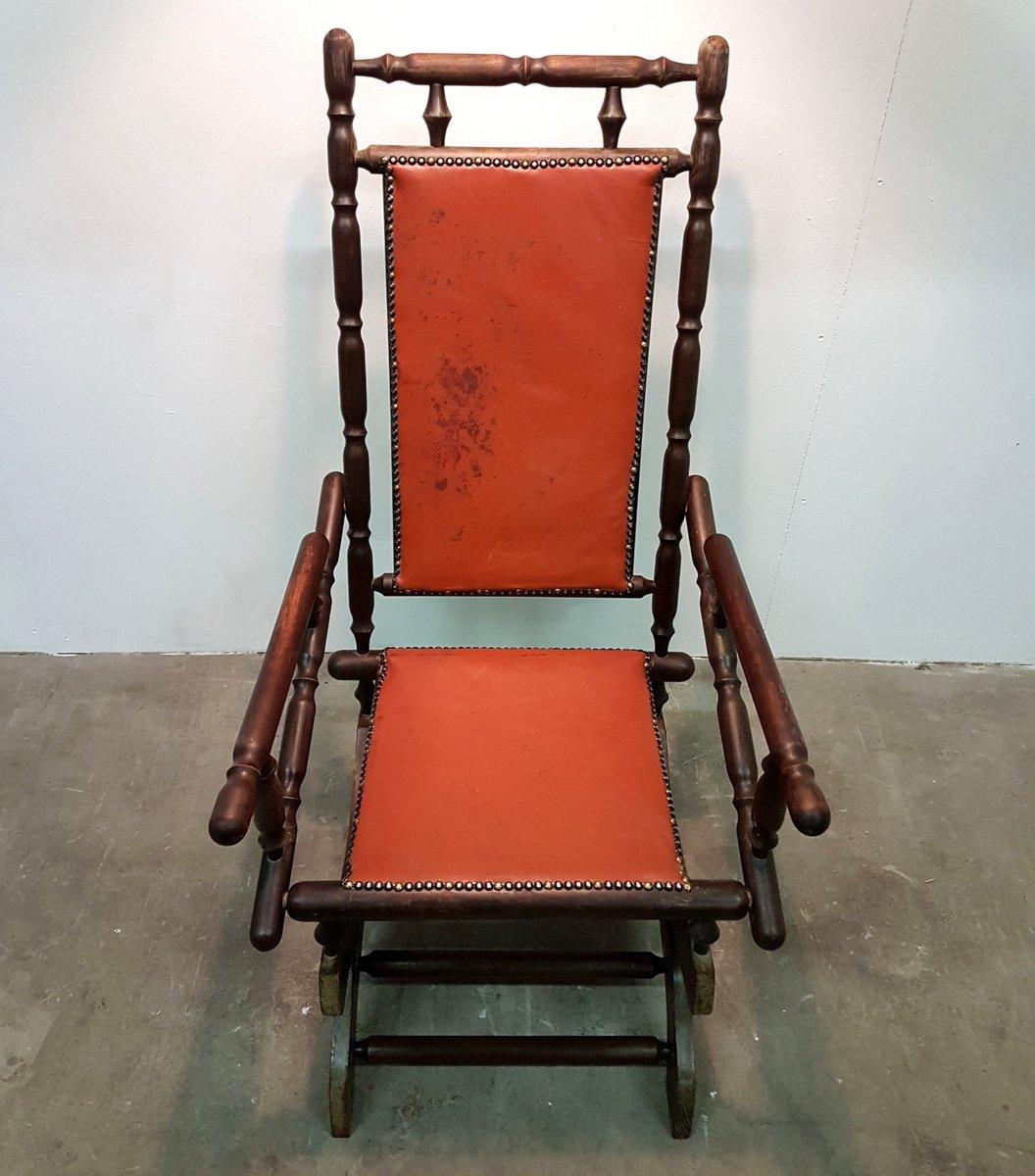 rocking chair scandinave vintage avec cuir patin en vente. Black Bedroom Furniture Sets. Home Design Ideas