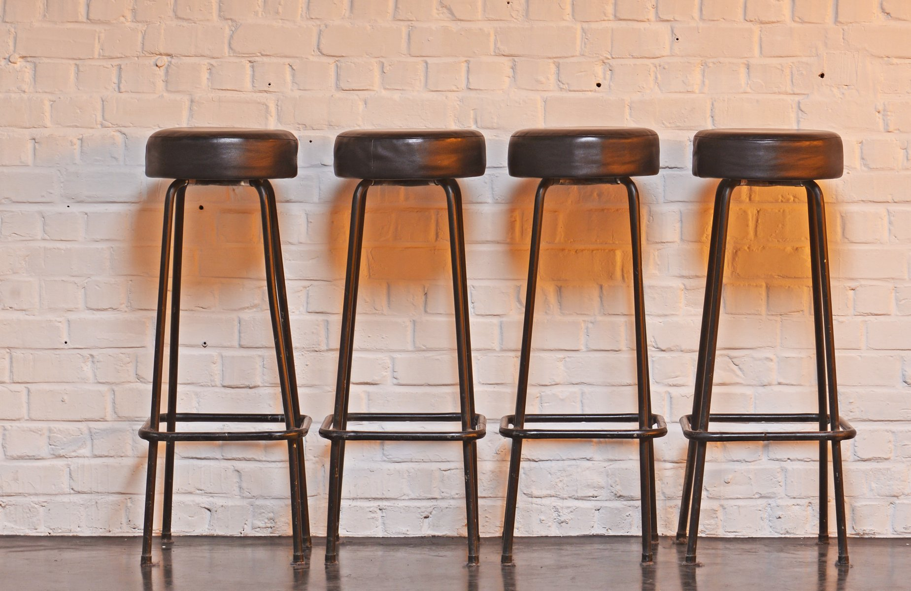 Mid Century Industrial Bar Stools 1950s Set Of 4 For