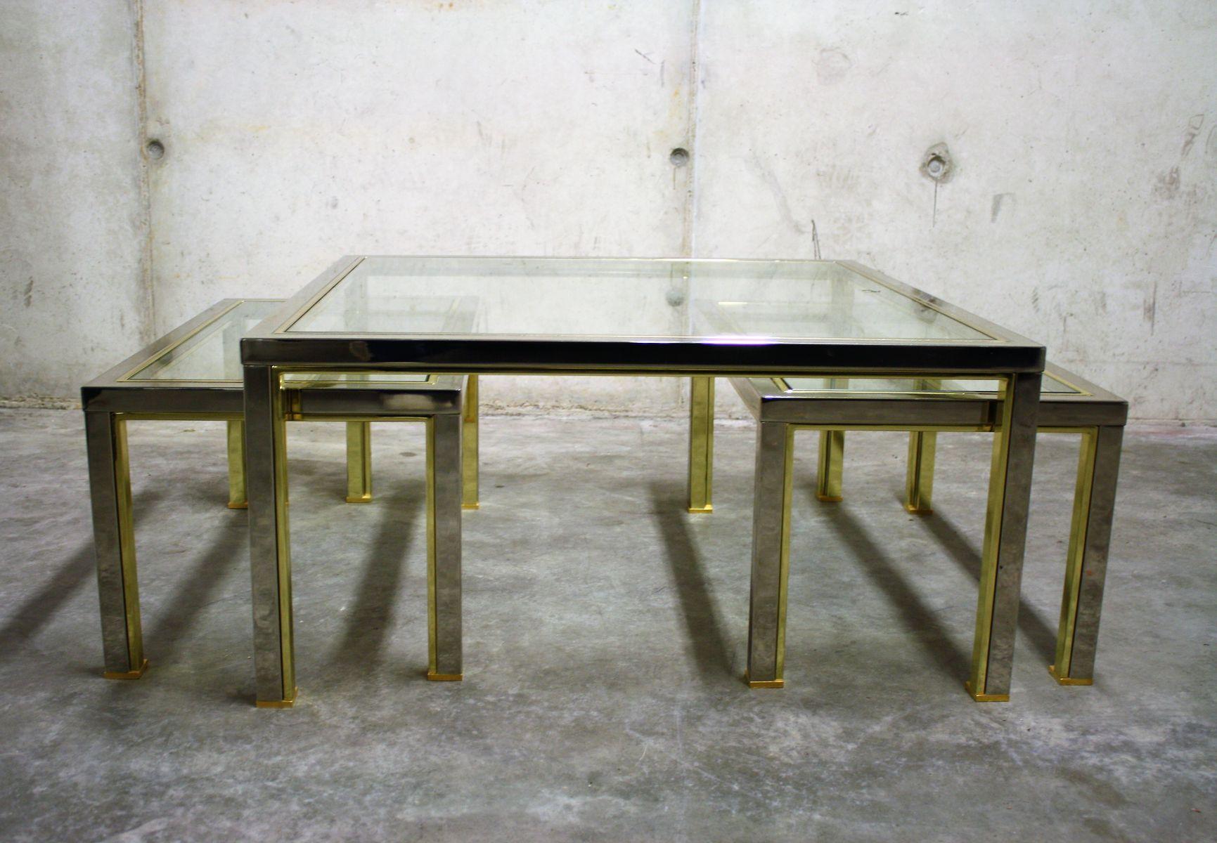 Vintage Hollywood Regency Brass \u0026 Chrome Coffee Tables Set of 3 & Vintage Hollywood Regency Brass \u0026 Chrome Coffee Tables Set of 3 for ...
