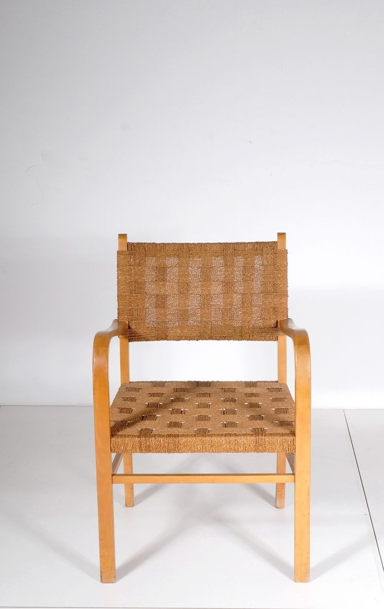 Small wooden armchair ottoman 1950s set of 2 for sale for Small armchair with ottoman