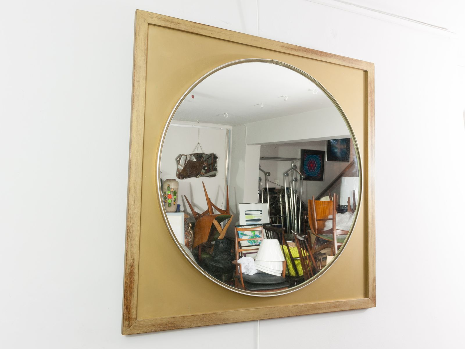 Vintage large round mirror with a gold wooden frame for for Large round mirrors for sale