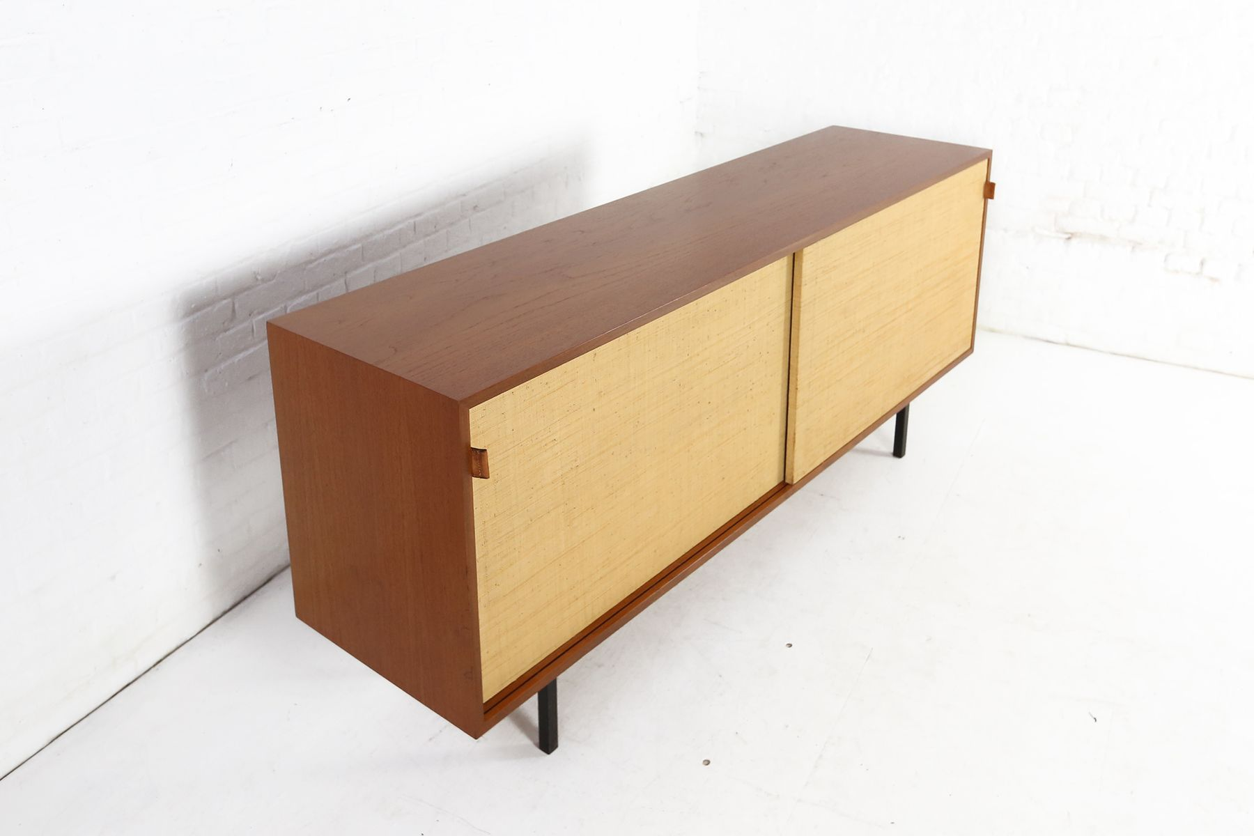 Teak and seagrass sideboard by florence knoll bassett for for 1950 s credenza