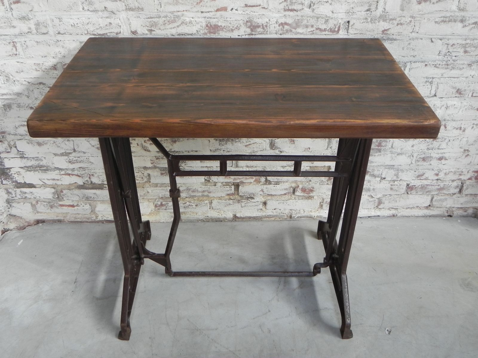 Art Deco Bistro Table With Wooden Top U0026 Cast Iron Base, 1930s