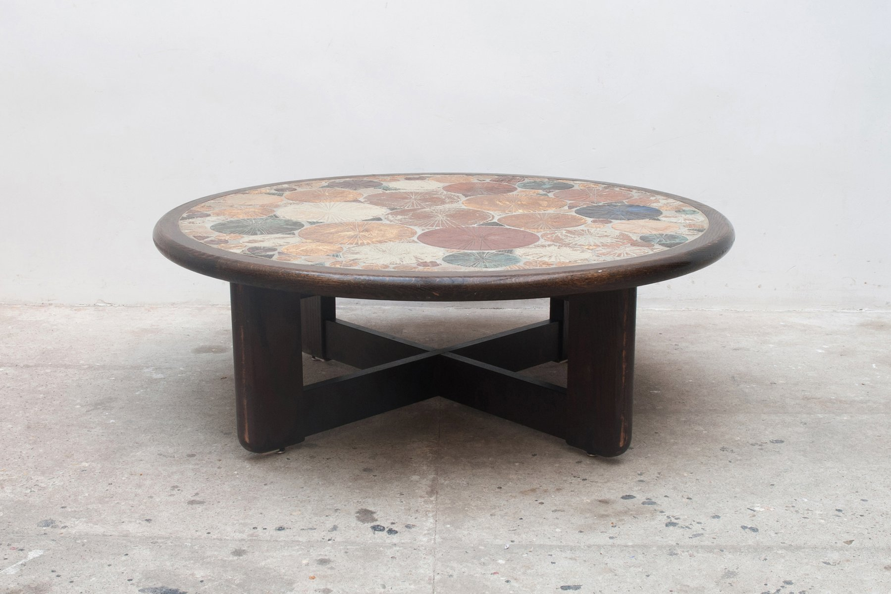 Vintage Round Ceramic Art Tile Coffee Table by Tue Poulsen for