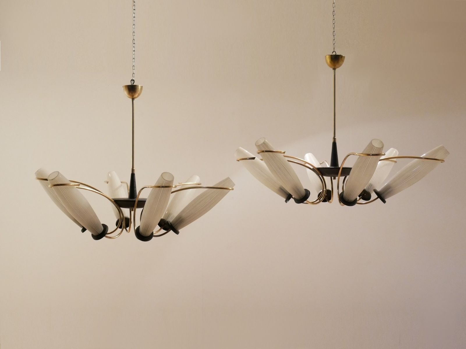 Brass etched glass chandeliers 1950s set of 2 for sale at pamono mozeypictures Image collections
