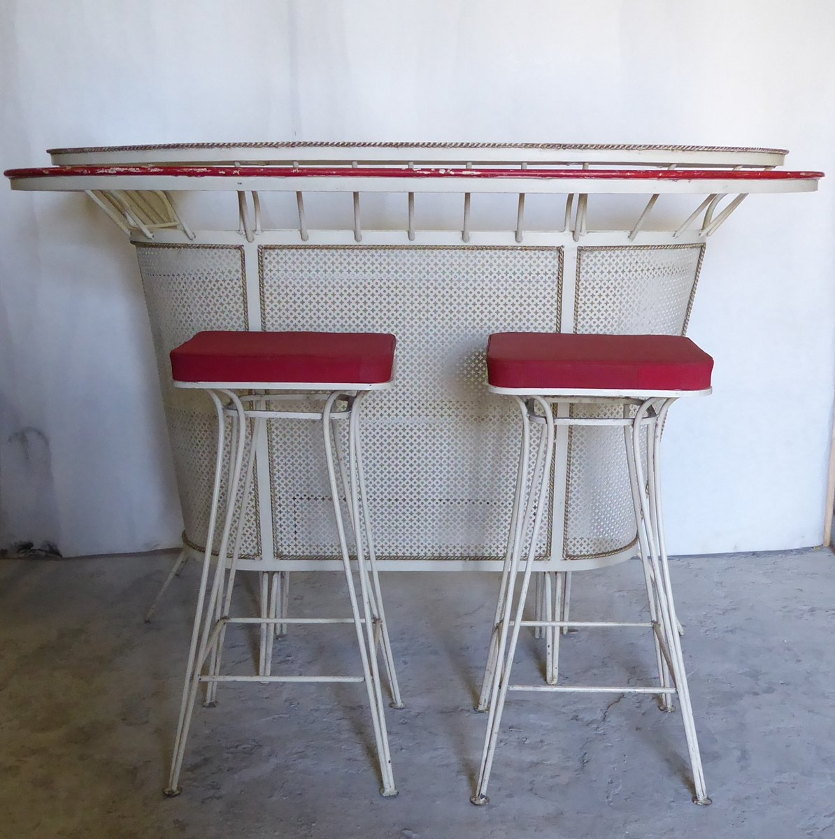 French Bar With Stools By Mathieu Mat 233 Got 1950s For Sale