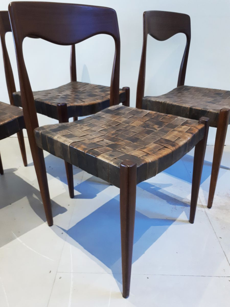 Mid Century Danish Dining Chairs With Leather Webbing Set