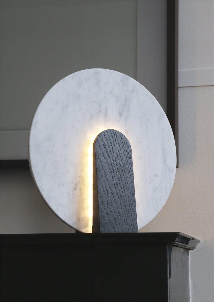 lune tischlampe aus marmor und gebeiztem holz von violaine. Black Bedroom Furniture Sets. Home Design Ideas