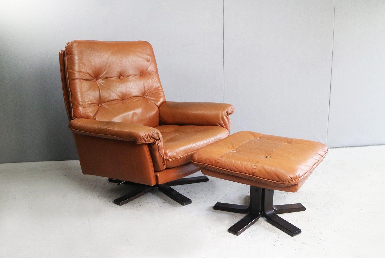 Lovely Mid Century Danish Reclining Leather Armchair U0026 Footstool, 1970s