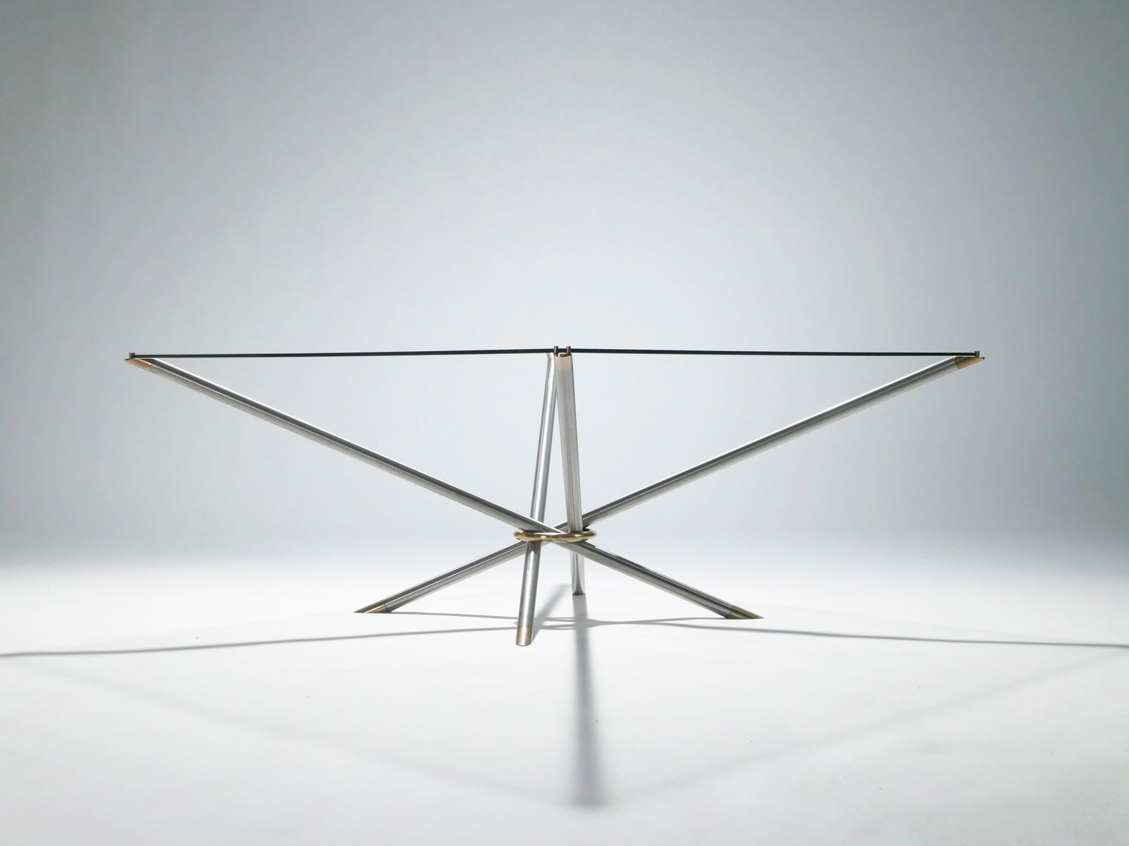 French Brass Coffee Table with Glass Top 1970s for sale at Pamono