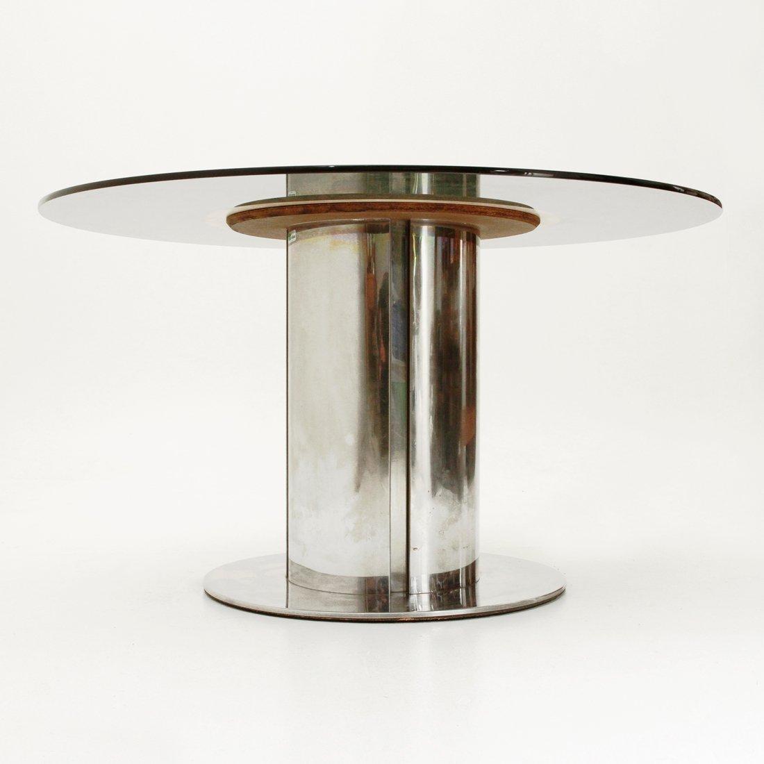 Tavolo da ptanzo rotondo con ripiano in vetro di Cidue, anni \'70 ...