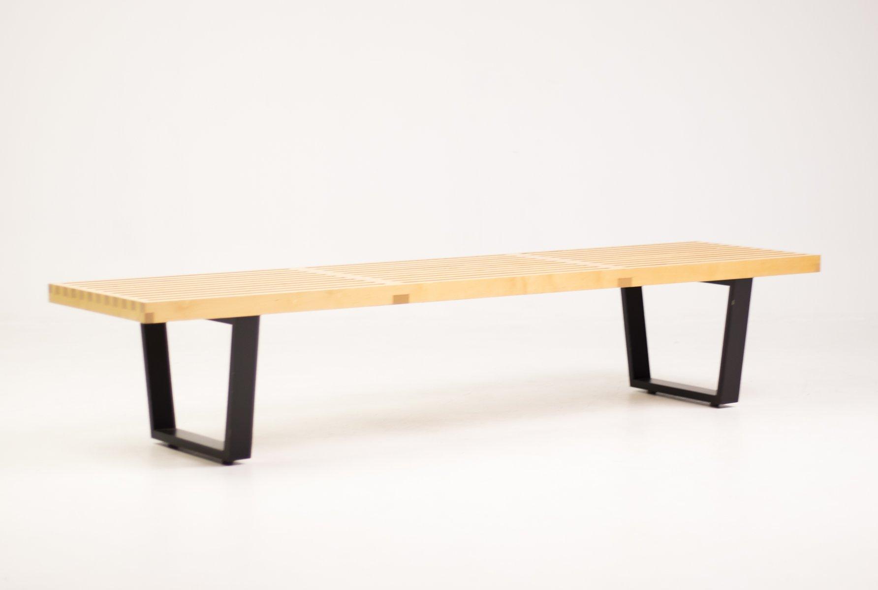 Vintage Ash Platform Bench by George Nelson for Herman Miller for