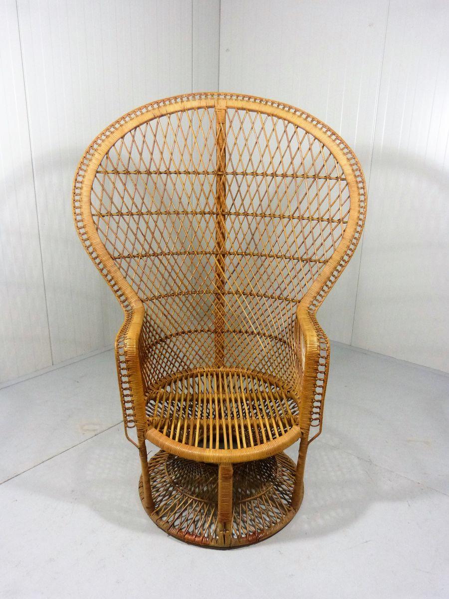 Vintage Peacock Rattan Chair
