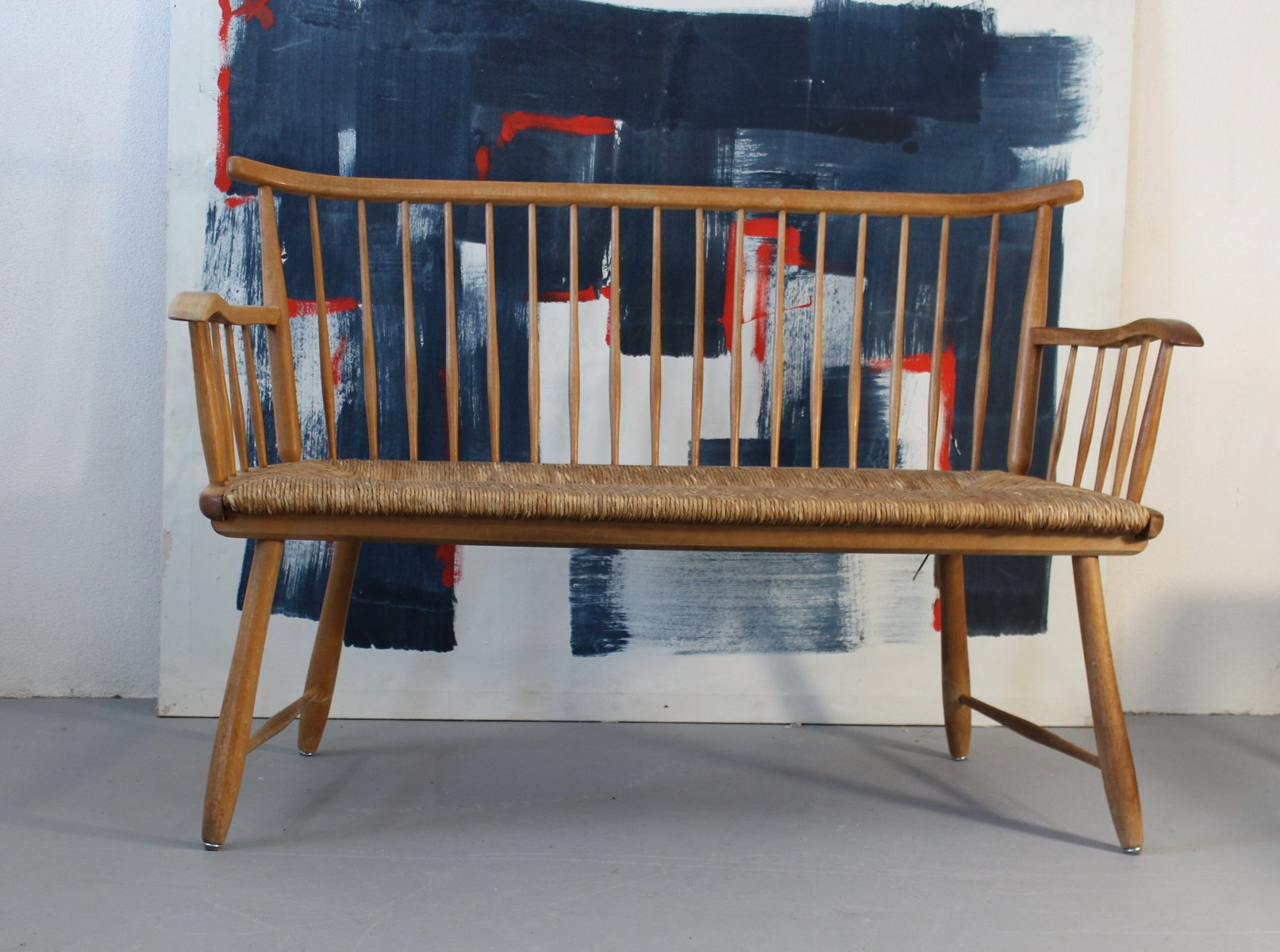 wicker bench by arno lambrecht for wk m bel 1950s bei pamono kaufen. Black Bedroom Furniture Sets. Home Design Ideas