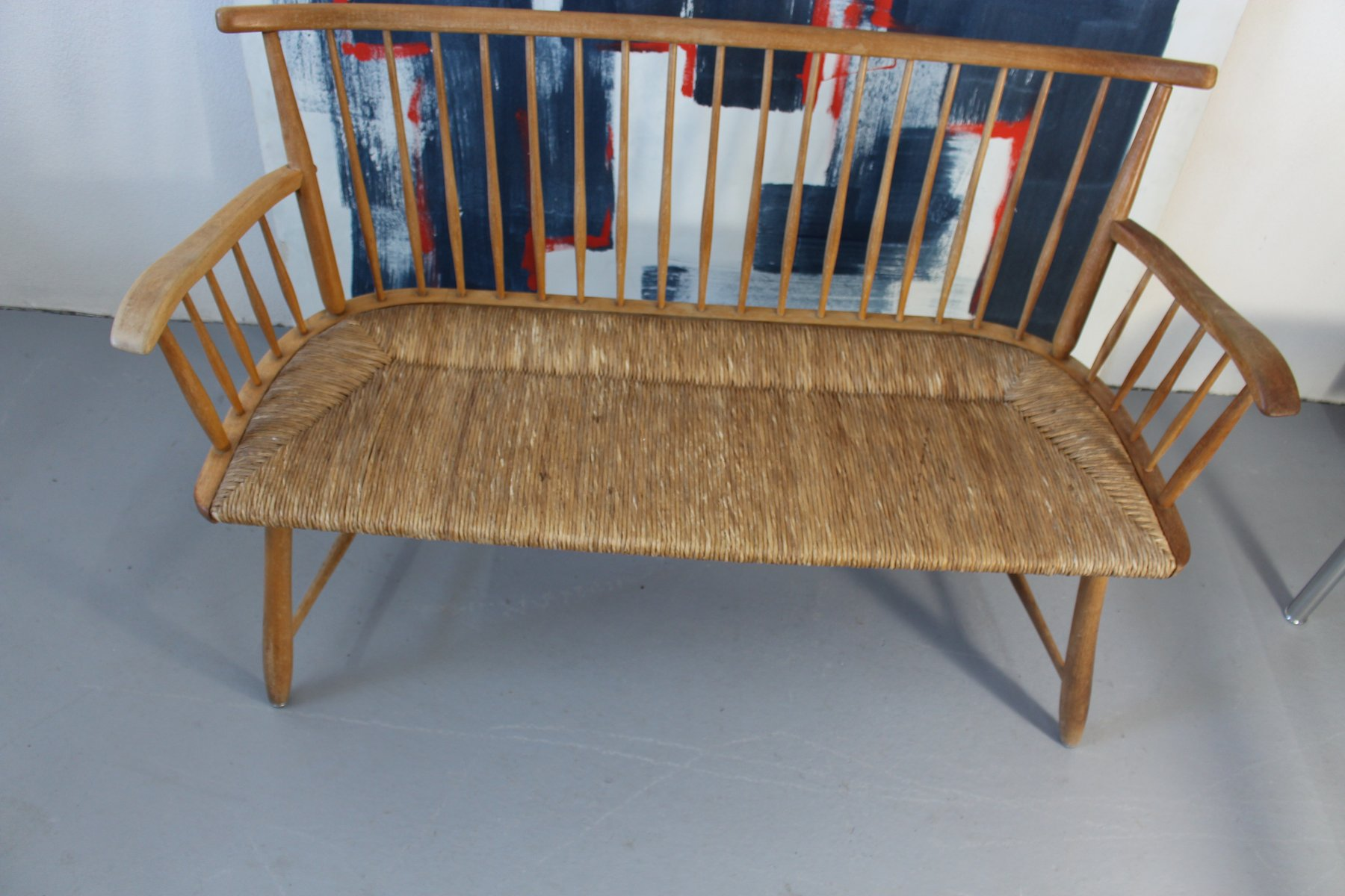 wicker bench by arno lambrecht for wk m bel 1950s bei. Black Bedroom Furniture Sets. Home Design Ideas