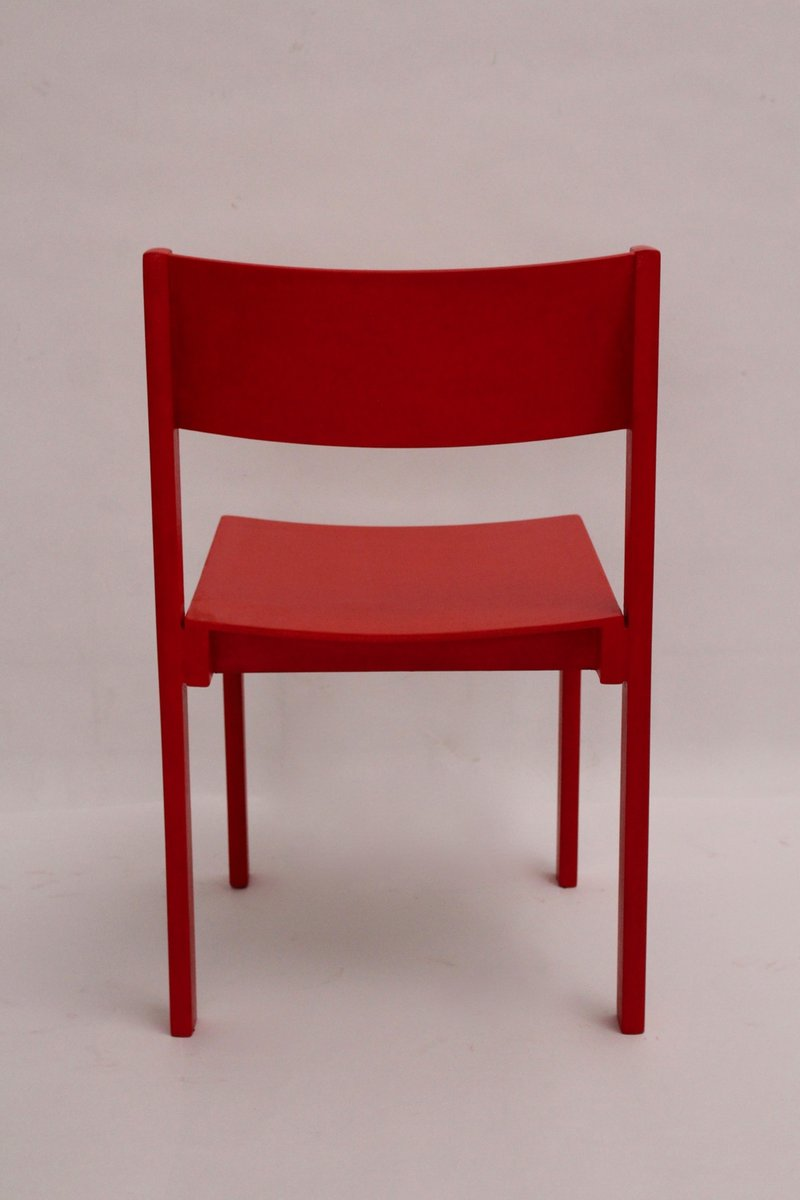 Mid century modern red dining room chairs by carl aub ck for Red dining chairs for sale