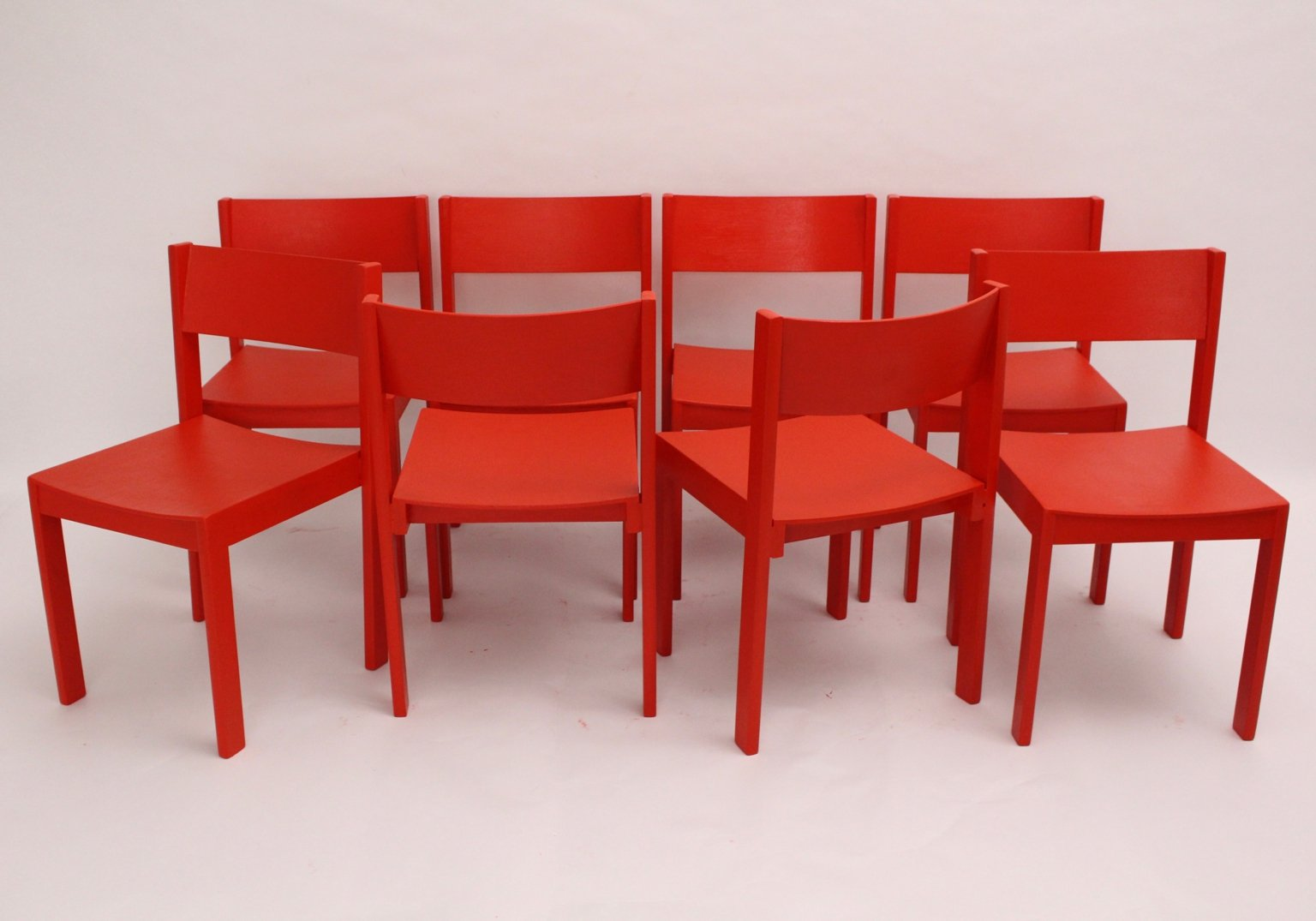 Mid century modern red dining room chairs by carl aub ck for Red dining room chairs