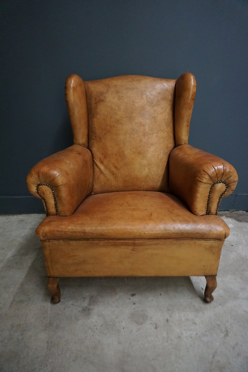 Dutch Vintage Cognac Colored Leather Club Chair For Sale At Pamono